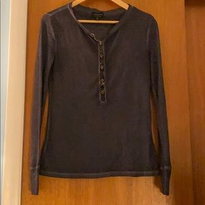 Lucky Brand Black Henley Long Sleeve -EUC